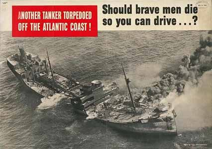 US government poster, 1942, via American Merchant Marine at War
