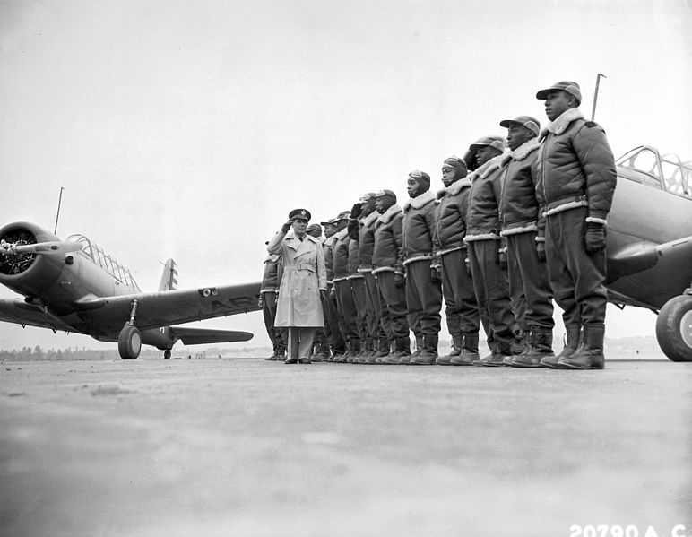 Maj James A. Ellison reviews first class of Tuskegee Airmen, Tuskegee Army Air Field, AL, 1941 (US Air Force photo)