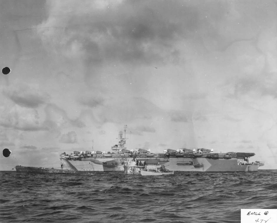 Escort carrier USS Guadalcanal alongside captured U-505, June 1944 (US National Archives)