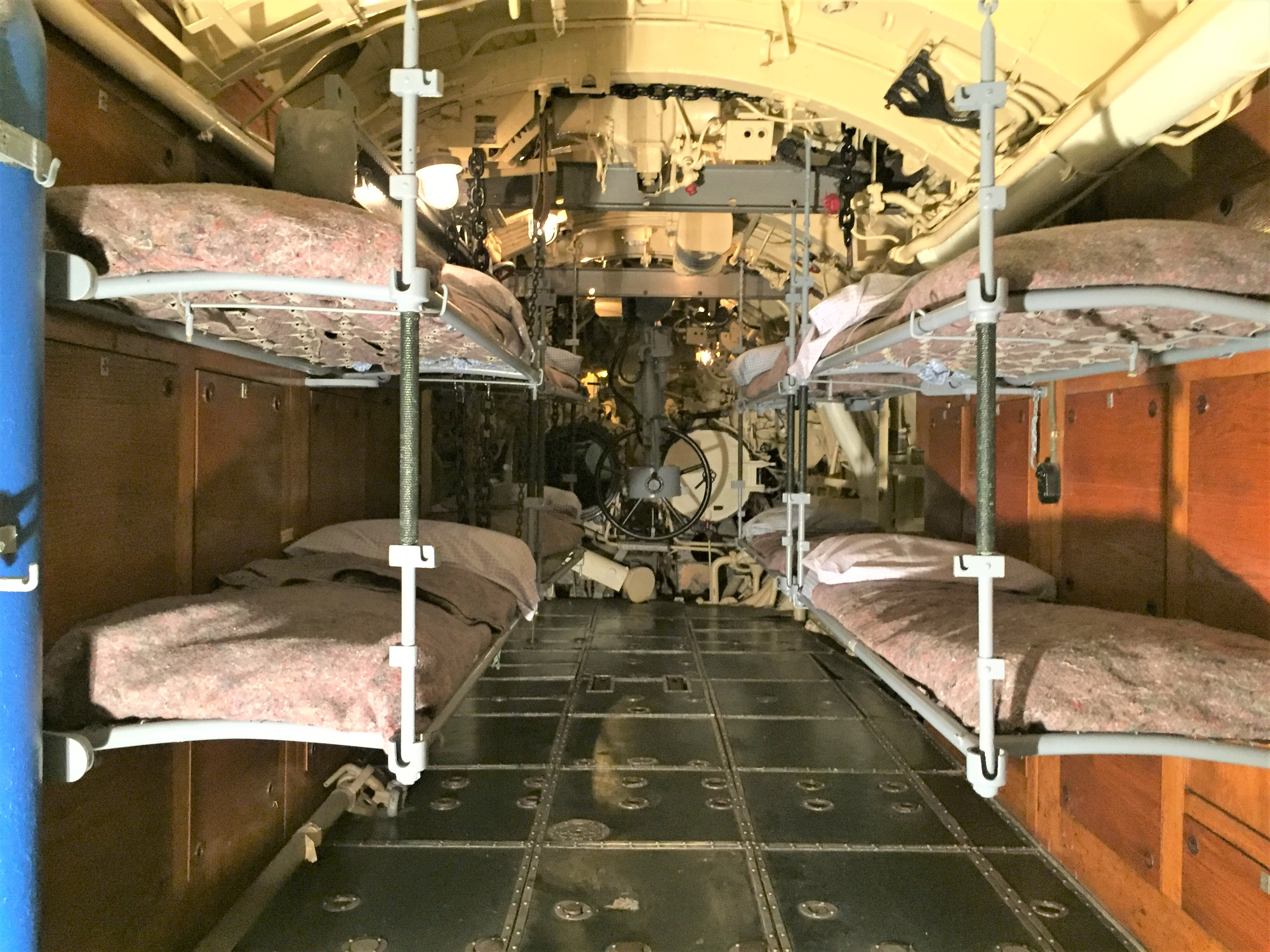 Aft torpedo room in U-505, rudder controls in center of picture, adjusted by Captain Gallery allowing U-505 to be saved, Chicago Museum of Science and Industry (Photo: Sarah Sundin, September 2016).
