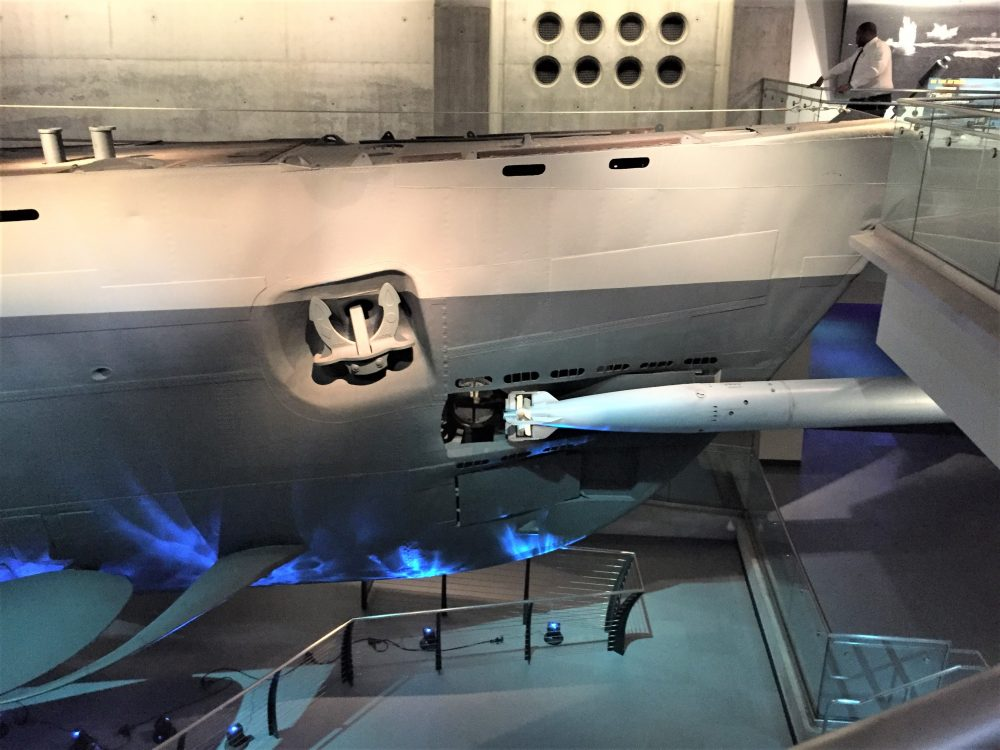 Bow of U-505 with torpedo, Chicago Museum of Science and Industry (Photo: Sarah Sundin, September 2016)