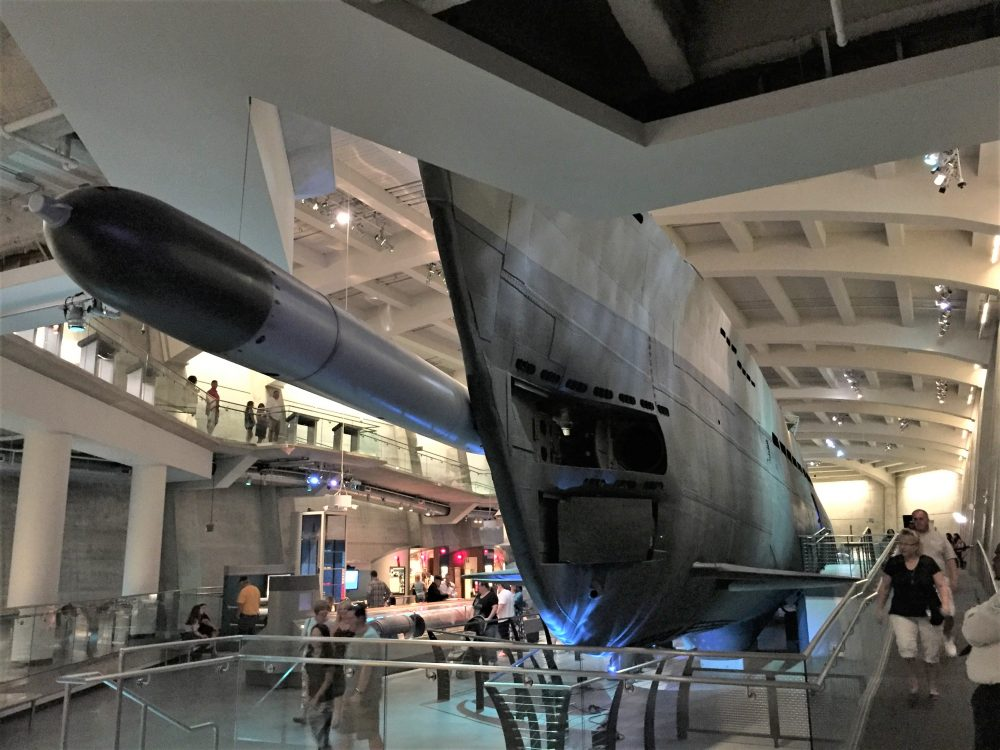 Bow of U-505 from underneath, Chicago Museum of Science and Industry (Photo: Sarah Sundin, September 2016)