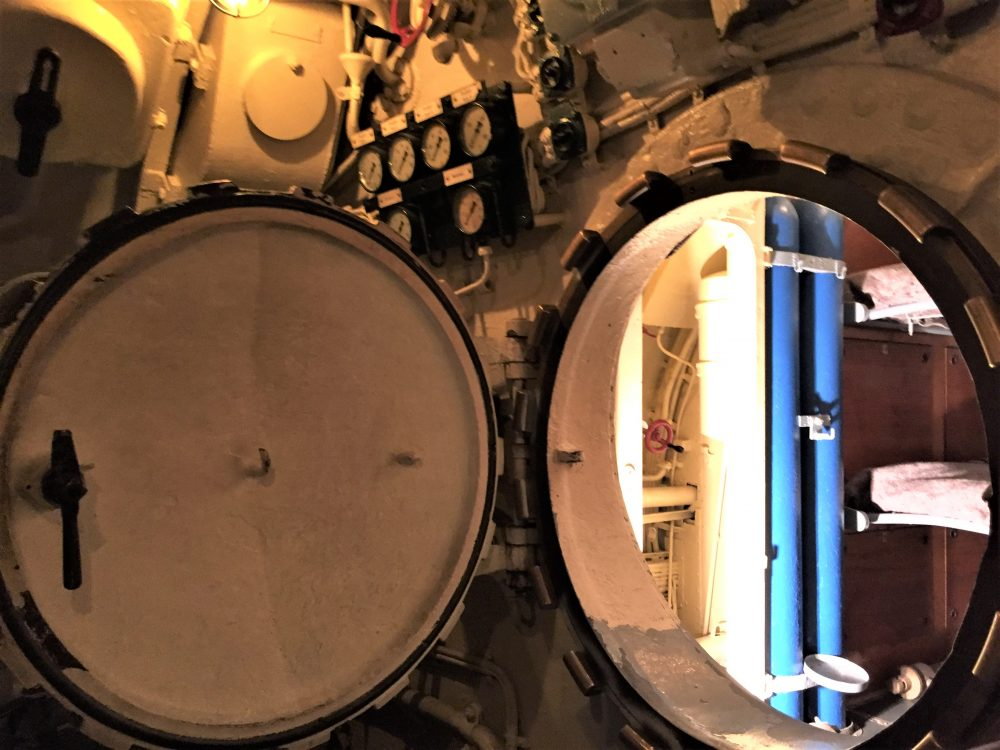 Hatch to aft torpedo room on U-505, opened by Captain Gallery, Chicago Museum of Science and Industry (Photo: Sarah Sundin, September 2016).
