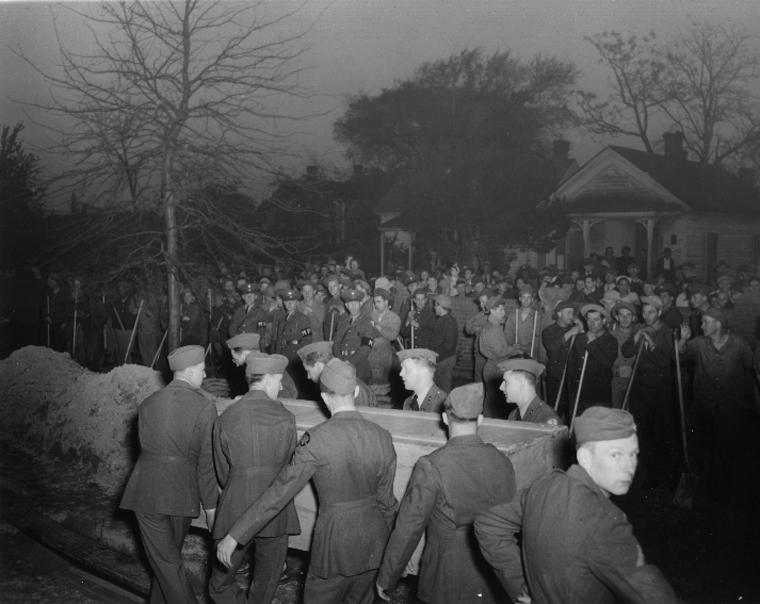 German sailors of U-85 are buried with military honors at Hampton National Cemetery, Hampton, VA, 15 Apr 1942 (US Navy photo)