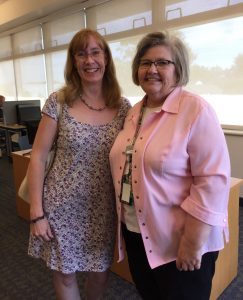With librarian Linda at the Ritter Public Library, Vermilion, Ohio (Photo: Sarah