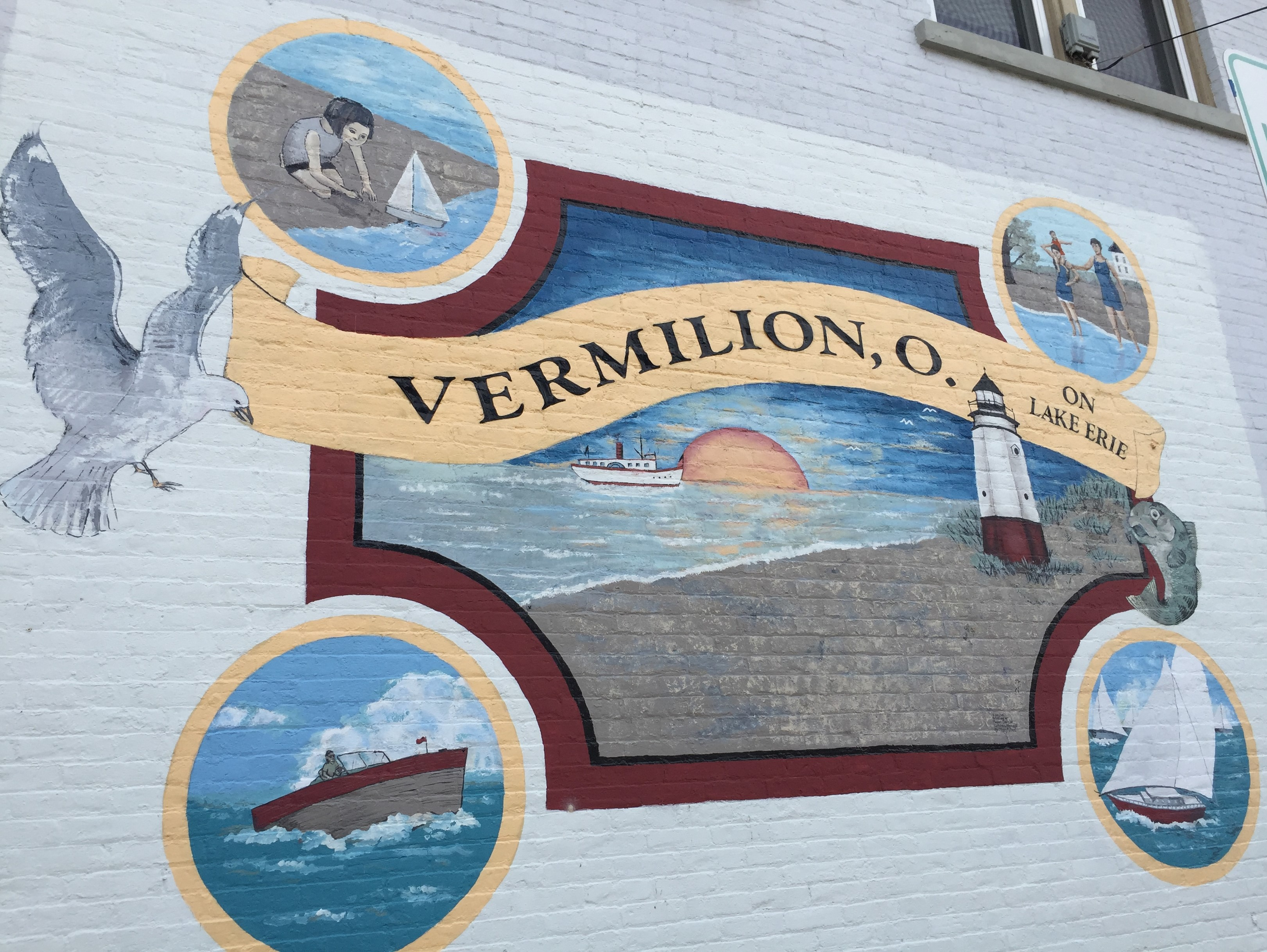 Mural on the wall of the former Hart's Drug Store, Vermilion, Ohio (Photo: Sarah Sundin, August 2016)