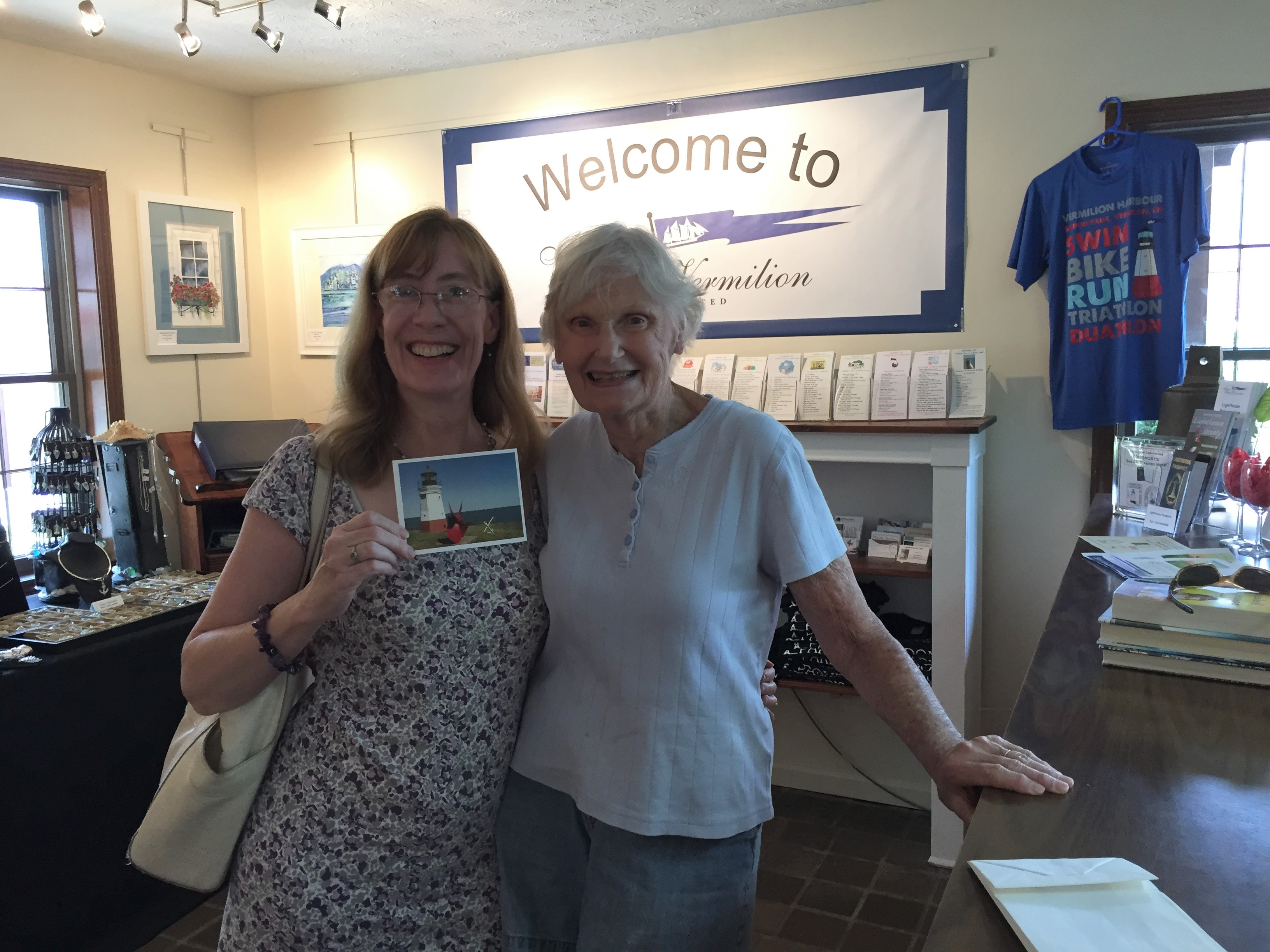 Inside the visitor center/art gallery in Vermilion, Ohio, with a sweet Vermilion native!