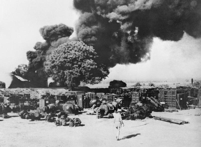 Yenangyaung oilfields being destroyed by retreating British troops, Burma, 15 Apr 1942 (Imperial War Museum)