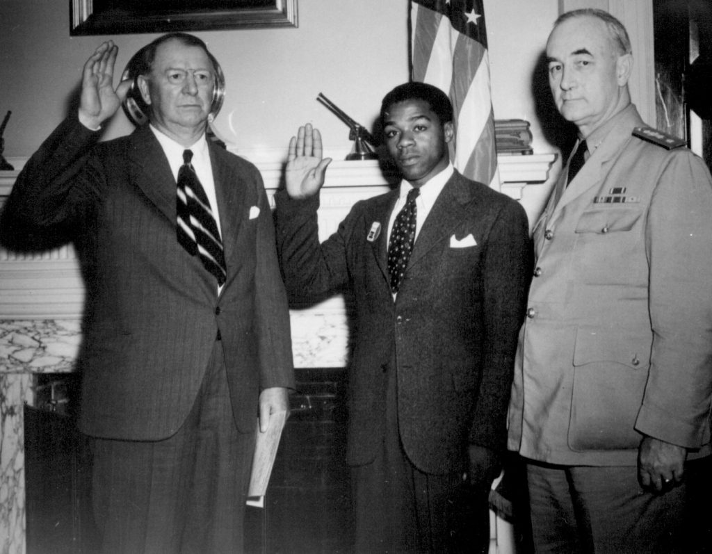 William Baldwin, the first African-American US Navy recruit for General Service, 2 Jun 1942 (US National Archives)