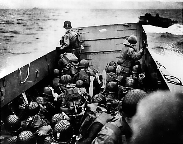 American troops en route to the invasion beach aboard LCVP landing craft, Normandy, France, 6 Jun 1944 (US Coast Guard photo)