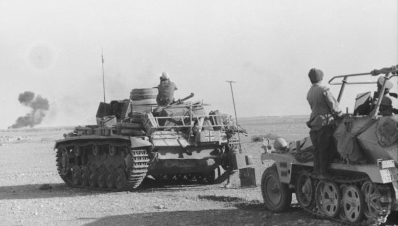Panzer III and Rommel's command vehicle in the western desert at the time of the Gazala battles, 1942 (German Federal Archives: Bild 101I-784-0246-22A)