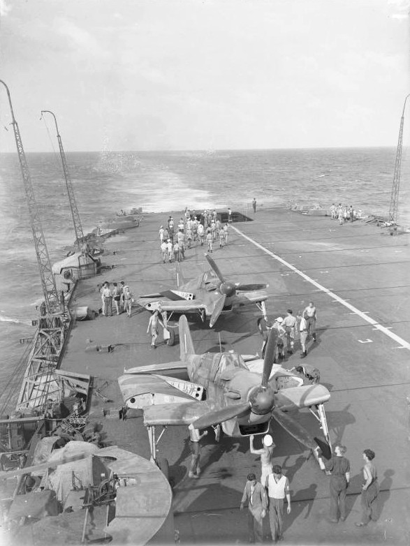 Fulmar fighters aboard carrier HMS Formidable off Madagascar, early May 1942 (Imperial War Museum)