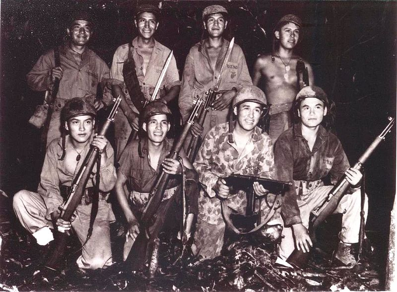 Navajo code-talkers on Bougainville, December 1943 (US Marine Corps photo)