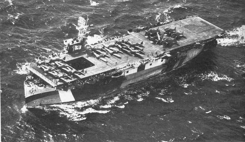 Escort carrier USS Copahee with a load of captured Japanese planes, 8 July 1944 (US Navy photo)