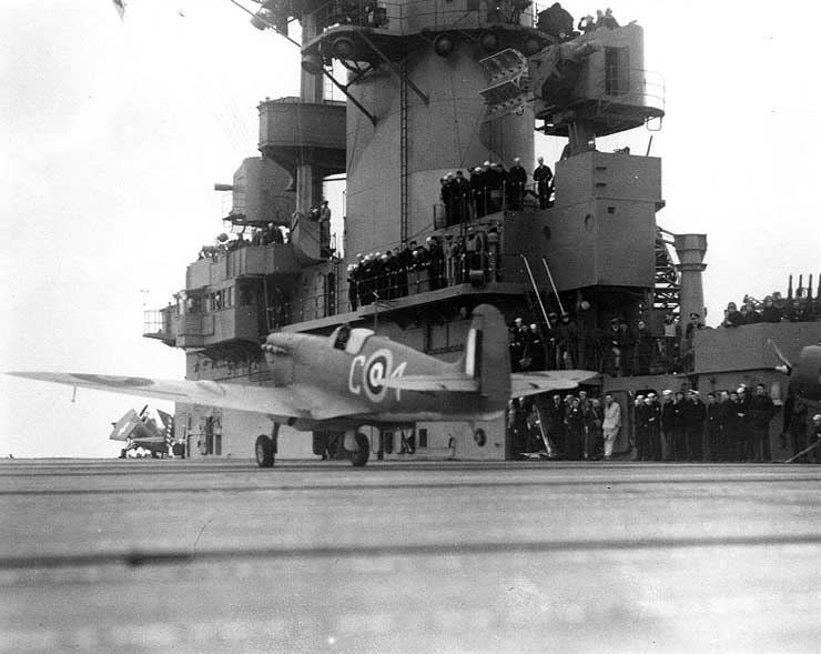 British Spitfire V fighter taking off from carrier USS Wasp for Malta, May 1942 (US National Archives)