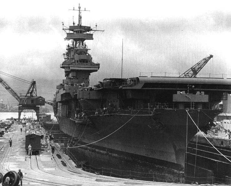 Yorktown in Dry Dock #1, Pearl Harbor Navy Yard, 29 May 1942 (US National Archives)