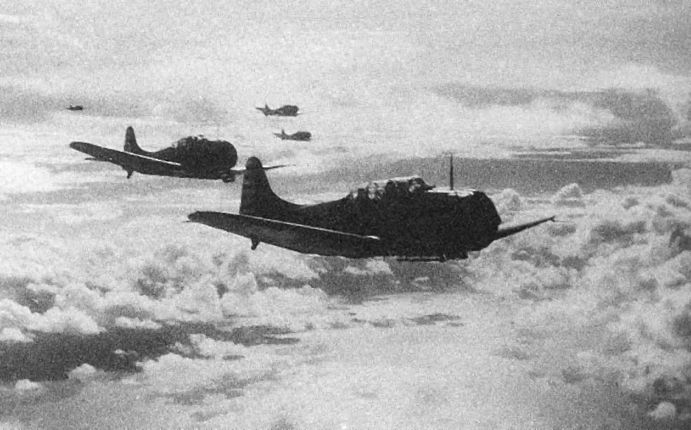 SBD Dauntless returning to USS Yorktown after an attack on Tulagi, Solomon Islands, 4 May 1942 (US National Archives)