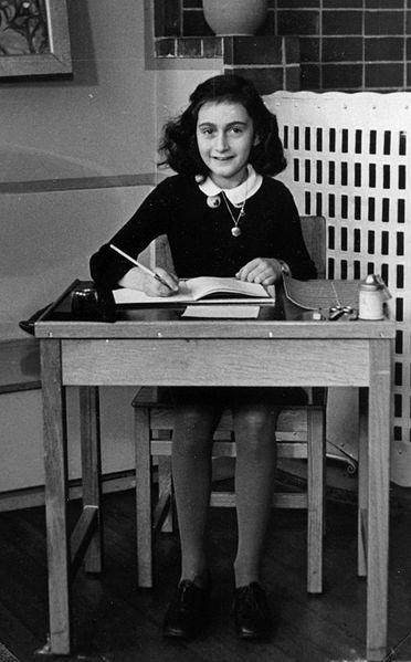 Anne Frank at school, age 6, Frankfurt, Germany, 1929. (public domain via Wikipedia)