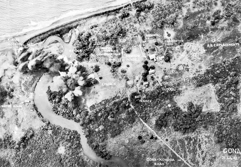 Aerial reconnaissance photo of Buna-Gona area after Japanese landings, 31 July 1942 (Australian War Memorial)