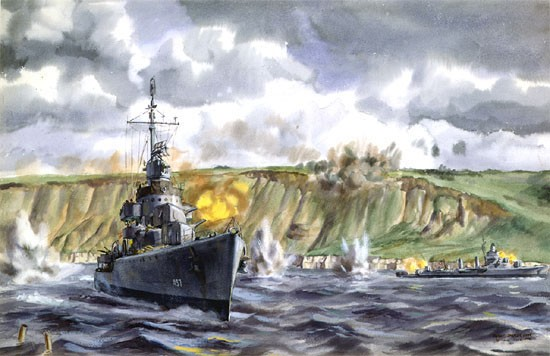 """Target of Opportunity"" Destroyer USS Emmons comes dangerously close to shore to battle with German gun battery on Omaha Beach on D-Day. Painting, Watercolor on Paper; by Dwight C. Shepler; 1944. (US Naval History and Heritage Command)"