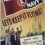 """Poster encouraging workers to strive for Army-Navy """"E"""" Award for meeting production quotas, WWII"""