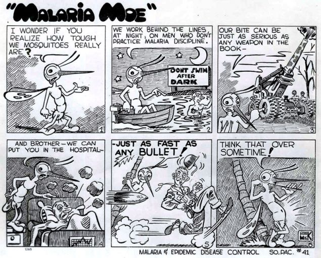 """Malaria Moe"" malaria prevention cartoon published by the US Army in the South Pacific, WWII (National Museum of Health and Medicine)"