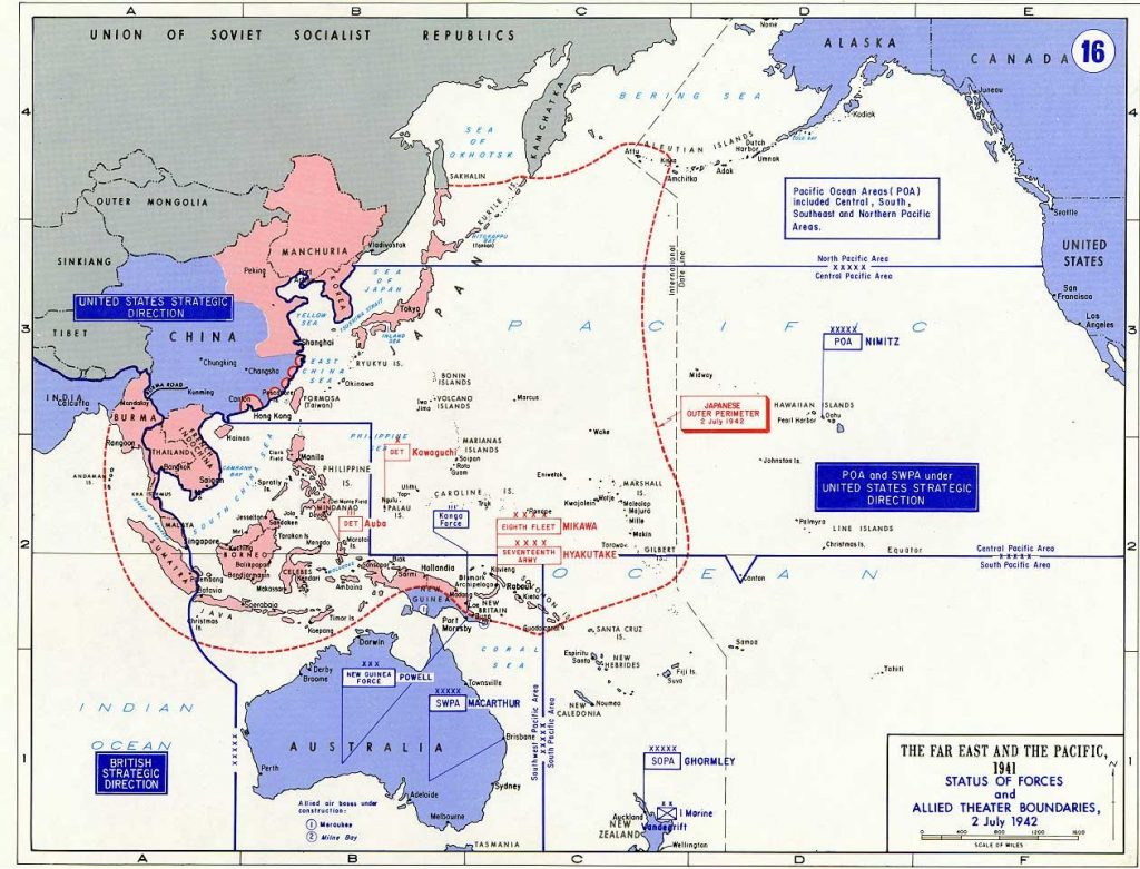 Map showing Allied and Japanese positions as of 2 July 1942 (US Military Academy)