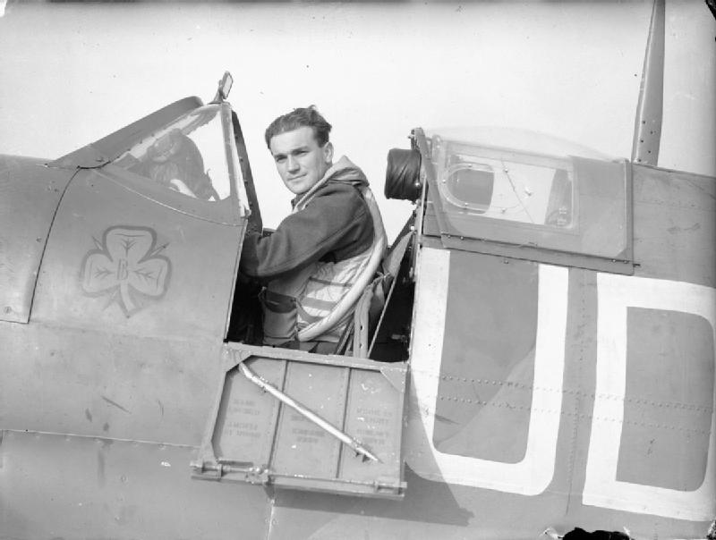 Flight Lt. Brendan 'Paddy' Finucane, an Irishman who flew with the RAF, in the cockpit of his Spitfire at RAF Kenley, 1941 (Imperial War Museum)