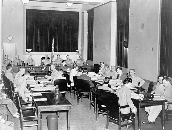 Nazi saboteur trial, Washington, D.C. The special seven-man military commission opens the third day of its proceedings in the trial of eight Nazi saboteurs in the Department of Justice building. (US Army Signal Corps photo)
