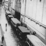 Buses waiting at the Vélodrome d'Hiver, where 13,000 Jews were assembled before being transported to Drancy and other French transit camps, Paris, July 16-17, 1942 (Bibliotheque Historique de la Ville de Paris, via US Holocaust Memorial Museum)