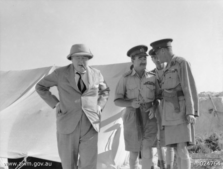 Winston Churchill, Leslie Morshead, and Claude Auchinleck at 9th Australian Division headquarters, El Alamein, Egypt, 5 Aug 1942 (Australian War Memorial)