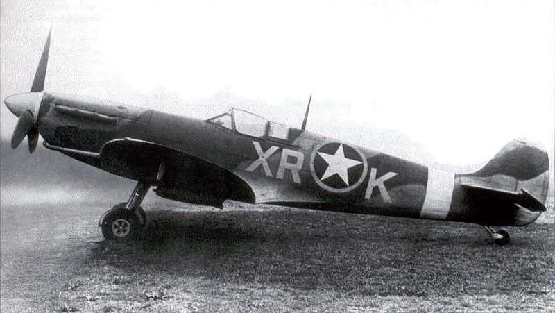 Spitfire MK V of US 4th Fighter Group, 1942; note USAAF insignia overlying the RAF roundel (US Army Air Force photo)