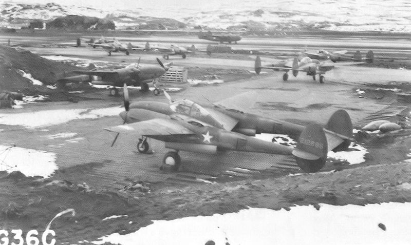 US 54th Fighter Squadron P-38s, Adak, Alaska, 1942 (US Army Air Forces photo)