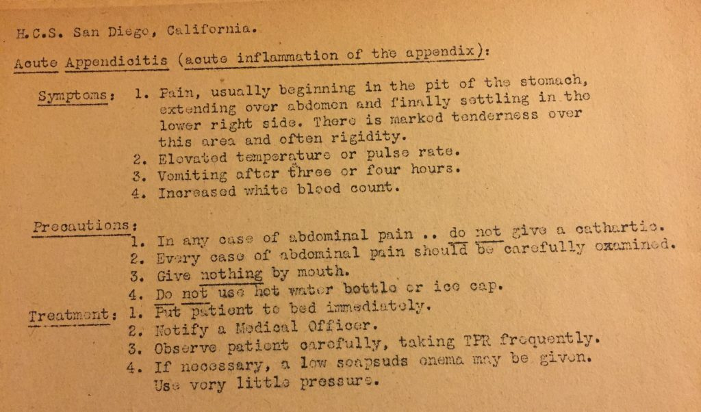 Notes on appendicitis from my grandfather's pharmacist's mate training notebook, Naval Hospital Corps School, 1944 (Sarah Sundin's collection)