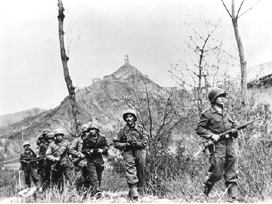 Soldiers of the Brazilian Expeditionary Force during the Battle of Monte Castello, Italy, 29 November 1944 (public domain via Wikipedia)