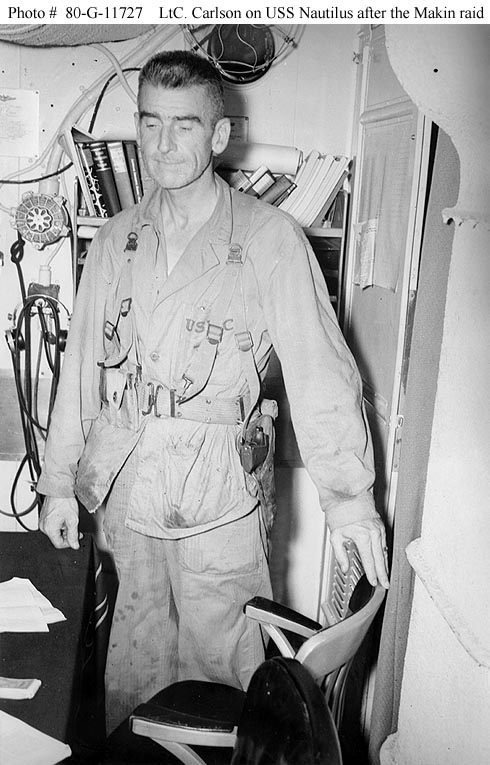 Lt. Col. Evans Carlson, USMC, Carlson's Raiders, after the Makin Island Raid, August 1942 (US Naval History and Heritage Command)