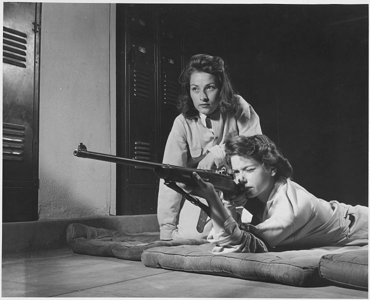 Girls from Roosevelt High School in Los Angeles, CA, train in marksmanship with the High School Victory Corps, 1942 (US National Archives)