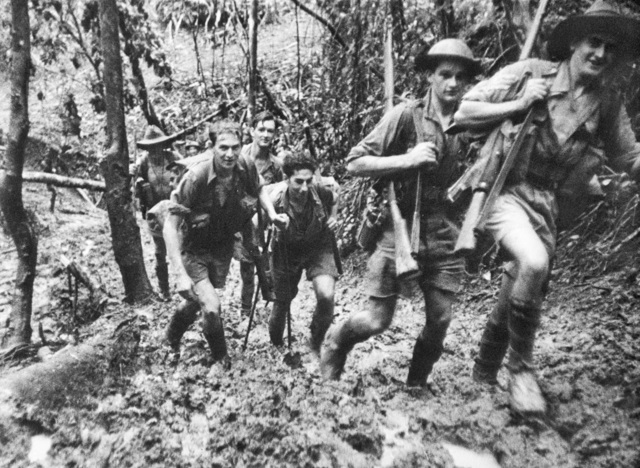 Australian troops after battle of Isurava in Owen Stanleys, September 1942 (Australian War Memorial)