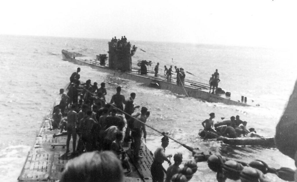 U-156 and U-507 with survivors of RMS Laconia in the Atlantic Ocean, 15 Sep 1942 (public domain via WW2 Database)