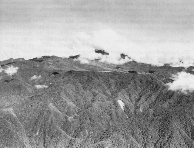 Jungled ridges at the gap in the Owen Stanley Mountains, New Guinea, November 1943 (US Army Center of Military History)