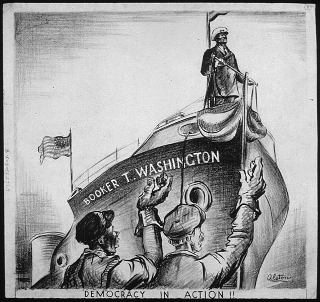"""Democracy in Action!"" by Charles Alston, commemorating launch of SS Booker T. Washington, 1942 (US National Archives)"
