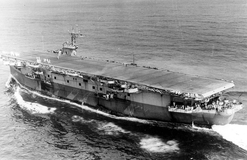 Auxiliary carrier USS Bogue (ACV-9) underway near Norfolk, VA, 20 June 1943 (US Navy photo)