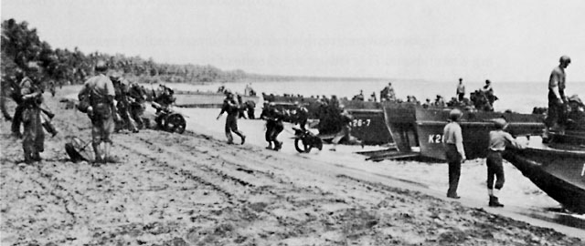 Carlson's Raiders landing at Aola Point, Guadalcanal, 4 November 1942 (US Army Center of Military History)