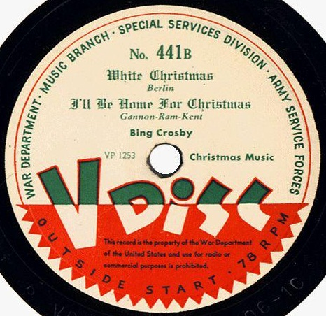 "US Army V-Disc with Bing Crosby recordings of ""White Christmas"" and ""I'll Be Home for Christmas,"" 1945 (public domain via Wikipedia)"