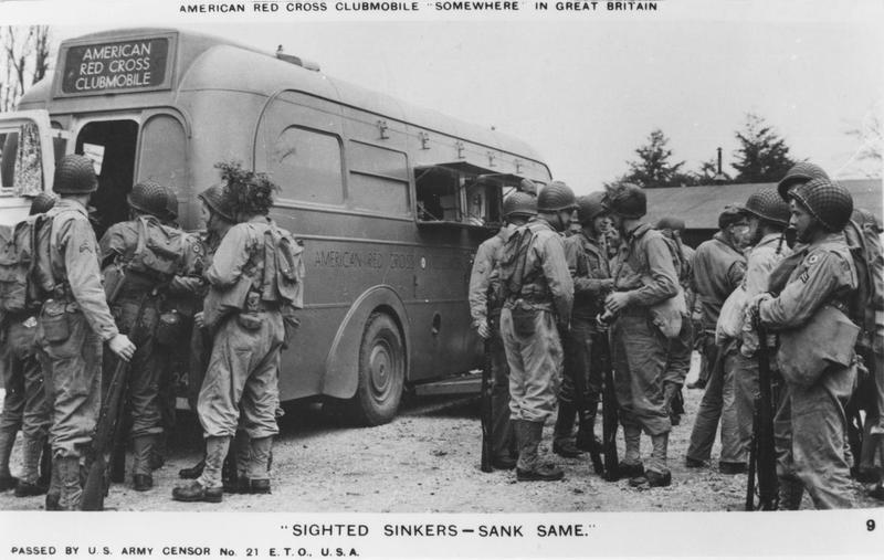 """Sighted Sinkers—Sank Same"" American Red Cross clubmobile serves coffee and donuts to US troops in Britain, WWII (American Air Museum in Britain)"