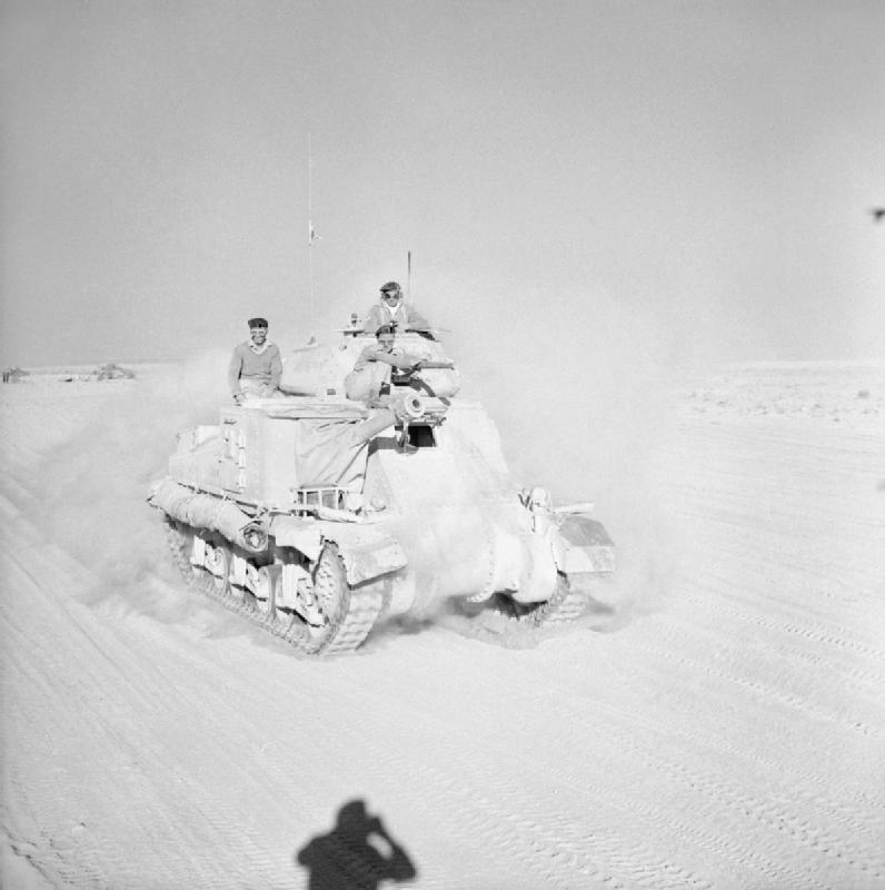 British Grant tank moving up to the front at El Alamein, Egypt, 29 October 1942 (Imperial War Museum)