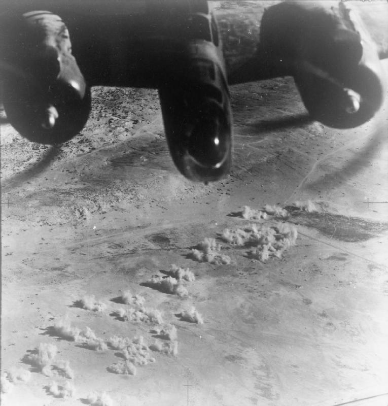 RAF No. 223 Squadron Martin Baltimore bombing German landing ground at El Daba, Egypt, Second Battle of El Alamein, 1942 (Imperial War Museum)