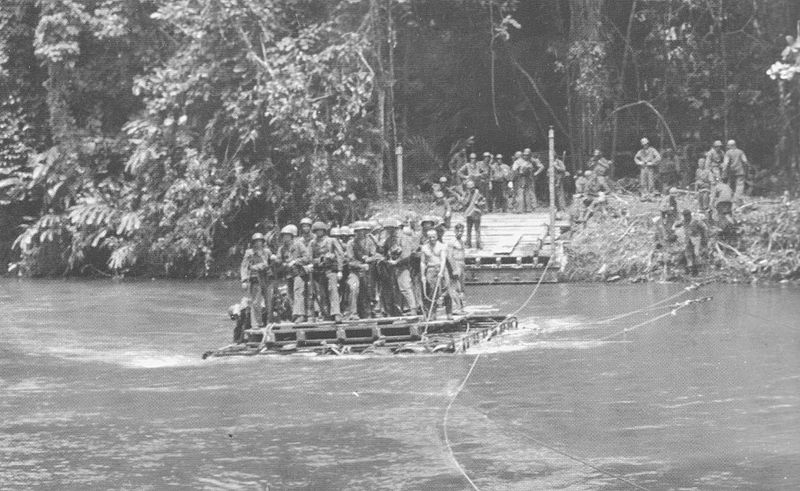 US Marines cross the Matanikau River on Guadalcanal on a raft ferry in November 1942 (US Marine Corps photo)