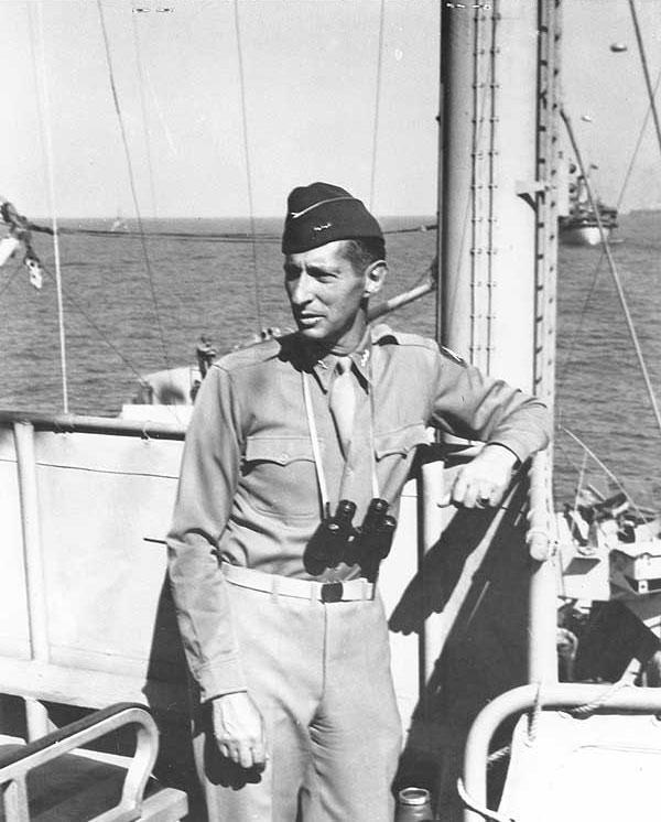 Lt. Gen. Mark Clark aboard USS Ancon off Salerno, Italy, 12 Sept 1943