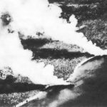 Two beached Japanese transports burning after US aerial attack near Guadalcanal, 15 Nov 1942 (public domain via WW2 Database)